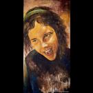 Fais-moi rire, de l'artiste Annie Lévesque, Tableau, acrylique sur toile, dimension : 47 x 24 pouces de largeur