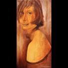 Juste pour toi, de l'artiste Annie Lévesque, Tableau, acrylique et collage sur toile, dimension : 47 x 24 pouces de largeur