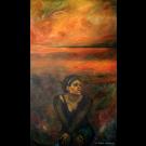 Espoir d'amitié, de l'artiste Annie Lévesque, Tableau, acrylique et collage sur toile, dimension : 54 x 32 pouces de largeur