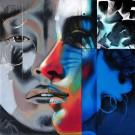 Première rencontre, de l'artiste Marie Chantal Le Breton, Tableau, Acrylique sur toile, dimension : 36 x 36 po de largeur