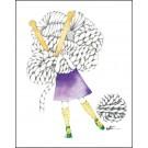 Carte de souhaits 4x5 po, Femme tricot, de l'artiste Katrinn Pelletier, dimension : 4.25 x 5.5 pouces largeur, sans texte, avec enveloppe  Vous pouvez inscrire votre message à l'intérieur.  Carte vendue à l'unité