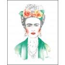 Carte de souhaits 4x5 po, Frida Kahlo fleur, de l'artiste Katrinn Pelletier, dimension : 4.25 x 5.5 pouces largeur, sans texte, avec enveloppe  Vous pouvez inscrire votre message à l'intérieur.  Carte vendue à l'unité