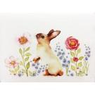Carte de souhaits 5x4 po, Lapin floral debout, de l'artiste Katrinn Pelletier, dimension : 5.5 x 4.25 pouces largeur, sans texte, avec enveloppe  Vous pouvez inscrire votre message à l'intérieur.  Carte vendue à l'unité