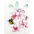 Carte de souhaits 4x5 po, Fleur cerisier bourdon, de l'artiste Katrinn Pelletier, dimension : 4.25 x 5.5 pouces largeur, sans texte, avec enveloppe  Vous pouvez inscrire votre message à l'intérieur.  Carte vendue à l'unité