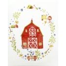 Carte de souhaits 4x5 po, Ferme rouge campagne, de l'artiste Katrinn Pelletier, dimension : 4.25 x 5.5 pouces largeur, sans texte, avec enveloppe  Vous pouvez inscrire votre message à l'intérieur.  Carte vendue à l'unité