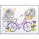 Carte de souhaits 5x4 po, Vélo de laine, de l'artiste Katrinn Pelletier, dimension : 5.5 x 4.25 pouces largeur, sans texte, avec enveloppe  Vous pouvez inscrire votre message à l'intérieur.  Carte vendue à l'unité