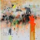 Carte de souhaits 5x5, Ce que tu nourris grandit, de l'artiste Sophie Ouellet, dimension : 5 x 5 pouces largeur, sans texte, avec enveloppe, Vous pouvez inscrire votre message à l'intérieur, Carte vendue à l'unité