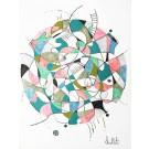 Ce qui naît en moi (o.encadrée), de l'artiste Sophie Ouellet, Oeuvre sur papier sans acides, Encre, pastel sec et graphite, Création unique, dimension : 12 x 9 po de largeur