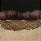 Cette forêt qui se consume, de l'artiste Anik Lachance, Tableau, Techniques mixtes sur bois, Collage, clous de finition, grillage rouillé, lin, Création unique, dimension : 8 x 8 po de largeur