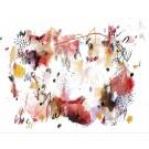 Château de sable, de l'artiste Zoé Boivin, Oeuvre sur papier, Médiums mixtes, Création unique, dimension 11 x 14 pouces de largeur