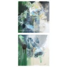"""Clochette (diptyque), de l'artiste Sandy Cunningham, """"Série des contes merveilleux"""", Tableau, Technique mixte, Création unique, dimension chaque unité : 20 x 20 pouces, format total de l'oeuvre : 40 x 20 pouces de largeur"""