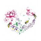 Affiche, Coeur floral, de l'artiste Katrinn Pelletier, dimension : 10 x 8 po de largeur