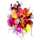Crabe de tête, de l'artiste Nancy Létourneau, Oeuvre sur papier Yupo, médium encre à l'alcool, dimension 26 x 20 po de largeur,
