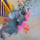 Dans le battement de mon coeur, de l'artiste Marie Chantal Le Breton, Tableau, Acrylique et dessin sur bois, dimension : 36 x 36 pouces de largeur