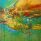 Déformer l'espace, de l'artiste Sophie Ouellet, Tableau, acrylique sur toile, Création unique, dimension : 30 x 30 po de largeur
