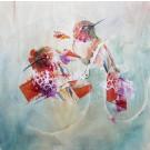 En ce matin d'abondance, de l'artiste Anne-Marie Villeneuve, Tableau, Mediums mixtes sur panneau de bois galerie, Création unique, dimension : 16 x 16 po de largeur