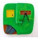 Horloge Klok, Face verte, 2 dents noires, de l'artiste Alexandre Tardif, dimension : 8 x 1 x 8 pouces de largeur, Décoration fonctionnelle, 1 batterie 2A, Bois : Tilleul ou pin