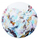 Hublot, de l'artiste Zoé Boivin, Tableau, Médiums mixtes sur toile, Création unique, dimension rond 35.5 x 35.5 pouces