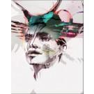 Carte de souhaits 7x5, Il était une fois, de l'artiste Marie Chantal Le Breton, dimension : 6.5 x 4.75 pouces largeur, sans texte, avec enveloppe  Vous pouvez inscrire votre message à l'intérieur.  Carte vendue à l'unité