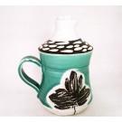 Bouteille à sirop, # 23, aqua, de l'artiste Créations Ratté, medium : céramique, objet utilitaire cuit à très haute température, résistant au four, au micro-onde et au lave-vaisselle