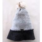 Tuque tissée, no 2, de l'artiste Irèna Geerts, Création québécoise faite à la main. Modèle garni d'un pompon de fourrure recyclée et de laine alpaga à 100 % %, vue A