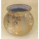 Vase baquet dentelle brun, de l'artiste Nancy Lavigueur, Poterie utilitaire semi-porcelaine, dimension : 5.5 pouces de hauteur, pièce vendue à l'unité