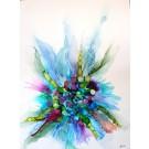 Inscape, de l'artiste Nancy Létourneau, Oeuvre sur bois, médium encre à l'alcool sur Terraskin, Création unique, dimension 40 po x 30 po de largeur