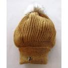 Tuque béret, no 41, de l'artiste Irèna Geerts, Création québécoise faite à la main. Modèle garni d'un pompon de fourrure recyclée et de laine alpaga à 100 %.