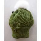 Tuque béret, no 43, de l'artiste Irèna Geerts, Création québécoise faite à la main. Modèle garni d'un pompon de fourrure recyclée et de laine alpaga à 100 %.