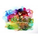 Je voudrais voir le monde, de l'artiste Nancy Létourneau, Oeuvre sur papier Yupo, médium encre à l'alcool, Création unique, dimension 20 po x 26 po de largeur