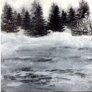 L'hiver (à Québec), de l'artiste Anik Lachance, Tableau, Techniques mixtes sur bois, Création unique, dimension : 6 x 6 po de largeur