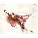 La bête sans acide, de l'artiste Benoit Genest Rouillier, Oeuvre sur papier, Acrylique, encre de Chine, pastel sec et graphite, Création unique, dimension : 10.25 po x 13.75 po de largeur