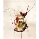 La goutte perfectionniste, de l'artiste Benoit Genest Rouillier, Oeuvre sur papier, Acrylique, encre de Chine, pastel sec et graphite, Création unique, dimension : 13.75 po x 10.25 po de largeur