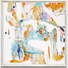La Baie (t.encadré) (série Transparences et liaisons), de l'artiste Zoé Boivin, Tableau, Médiums mixtes sur toile, Création unique, dimension 36 x 36 pouces de largeur