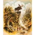 Carte de souhaits 7x5, La chasse, de l'artiste Félix Girard, dimension : 7 x 5 pouces largeur, sans texte, avec enveloppe, Vous pouvez inscrire votre message à l'intérieur., Carte vendue à l'unité