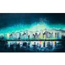 La nuit magique, de l'artiste Andrée-Anne Laberge, Tableau, Encaustique sur bois, Création unique, dimension : 30 x 48 po de largeur