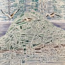 La possibilité d'une Île (t.encadré), de l'artiste Elyse Turbide, Acrylique sur toile, Dimension : 30 x 30 po de largeur