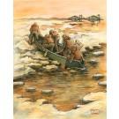 Les canotiers, affiche, de l'artiste Félix Girard, sur papier Hahnemühle Fine Art Photo Rag avec de l'encre à pigment, dimension : 18 x 14 pouces de largeur, affiche prête à être encadrée