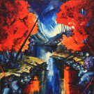 Le sous-bois bleu, de l'artiste Jean-Simon Bégin, Tableau, Huile sur toile, Création unique, dimension 48 x 48 pouces de largeur