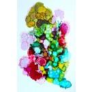 Le soleil sous la mer (o.encadrée), de l'artiste Nancy Létourneau, Oeuvre sur papier Yupo, médium encre à l'alcool et acrylique, Création unique, dimension 20 po x 13 po de largeur