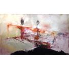 L'écran des milliards, de l'artiste Benoit Genest Rouillier, Tableau, Acrylique sur toile, Création unique, dimension : 36 x 60 po de largeur