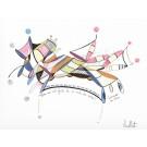 Léonardo da Vinci (o.encadrée), de l'artiste Sophie Ouellet, Oeuvre sur papier sans acides, Encre, pastel sec et graphite, Création unique, dimension : 9 x 12 po de largeur