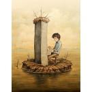 Carte de souhaits 7x5, Le pianiste, de l'artiste Félix Girard, dimension : 7 x 5 pouces largeur, sans texte, avec enveloppe, Vous pouvez inscrire votre message à l'intérieur, Carte vendue à l'unité