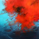Carte de souhaits 5x5, Les contractions du coeur, de l'artiste Sophie Ouellet, dimension : 5 x 5 pouces largeur, sans texte, avec enveloppe  Vous pouvez inscrire votre message à l'intérieur.  Carte vendue à l'unité