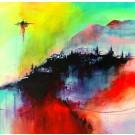 Carte de souhaits 5x5, Les brumes boréales, de l'artiste Sophie Ouellet, dimension : 5 x 5 pouces largeur, sans texte, avec enveloppe, Vous pouvez inscrire votre message à l'intérieur. Carte vendue à l'unité