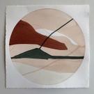 Les jardins nordiques # 18, de l'artiste Vanessa Sylvain, Oeuvre papier, Acrylique sur papier, Création unique, dimension 14 x 14 pouces de largeur, ronde
