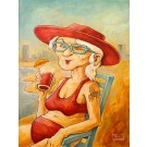 Carte de souhaits 7x5, Limoilou Beach, de l'artiste Félix Girard, dimension : 7 x 5 pouces largeur, sans texte, avec enveloppe, Vous pouvez inscrire votre message à l'intérieur, Carte vendue à l'unité