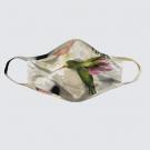 Masque facial lavable, modèle 'Colibris', Ni Vu Ni Cornu, Auteure Annie Lévesque, artiste, Art portable, 5 tailles XS à XL, Fait au Canada
