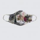 Masque facial lavable, modèle 'Juxtaposition contrôlée', Ni Vu Ni Cornu, Auteure Annie Lévesque, artiste, Art portable, 3 tailles M à XL, Fait au Canada