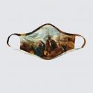 Masque facial lavable, modèle 'La rencontre', Ni Vu Ni Cornu, Auteure Annie Lévesque, artiste, Art portable, 3 tailles M à XL, Fait au Canada